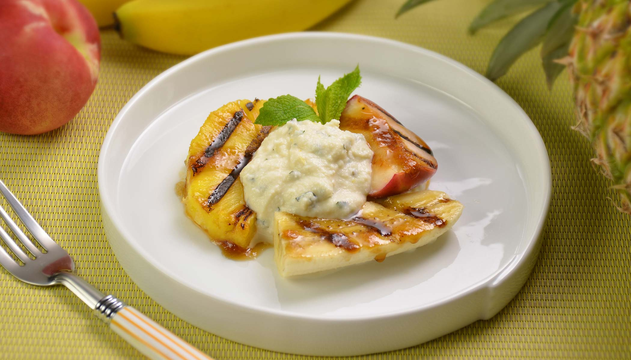 Grilled Fruit with Lemon Ricotta Cheese