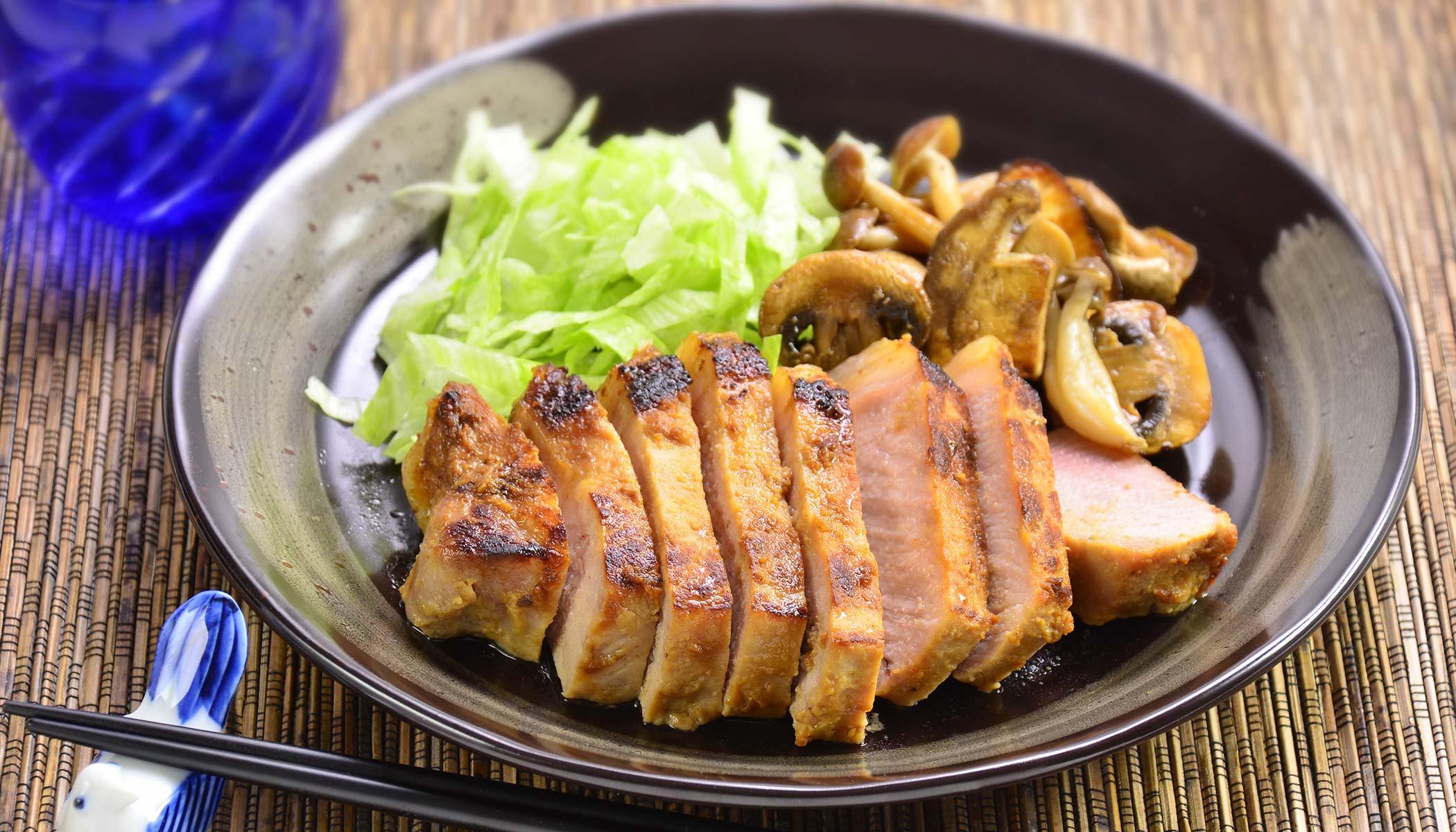 <i>Miso</i> Garlic Pork & Mushroom Stir-Fry
