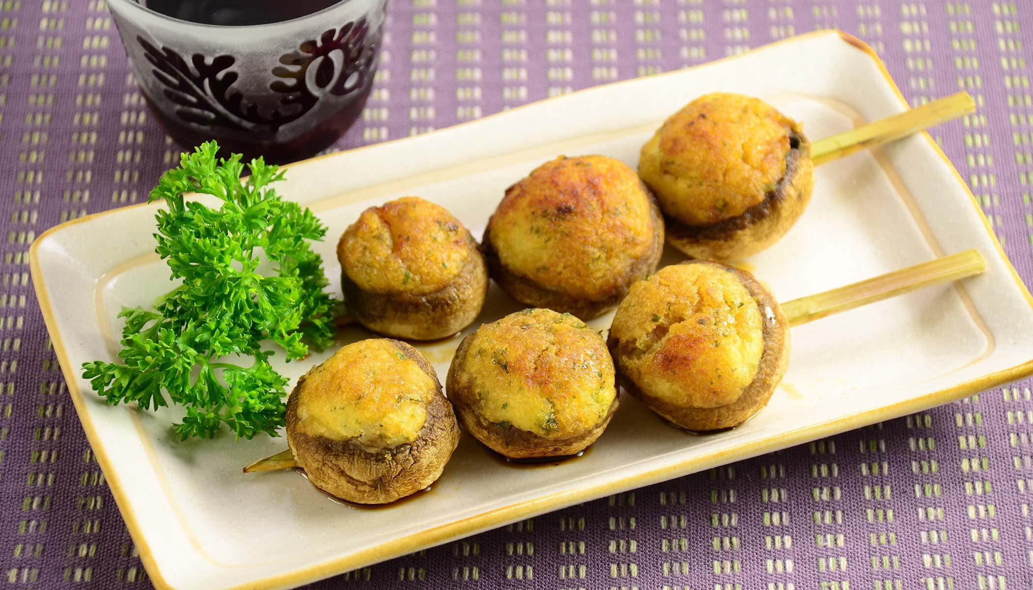 Stuffed Potato Mushroom Skewers