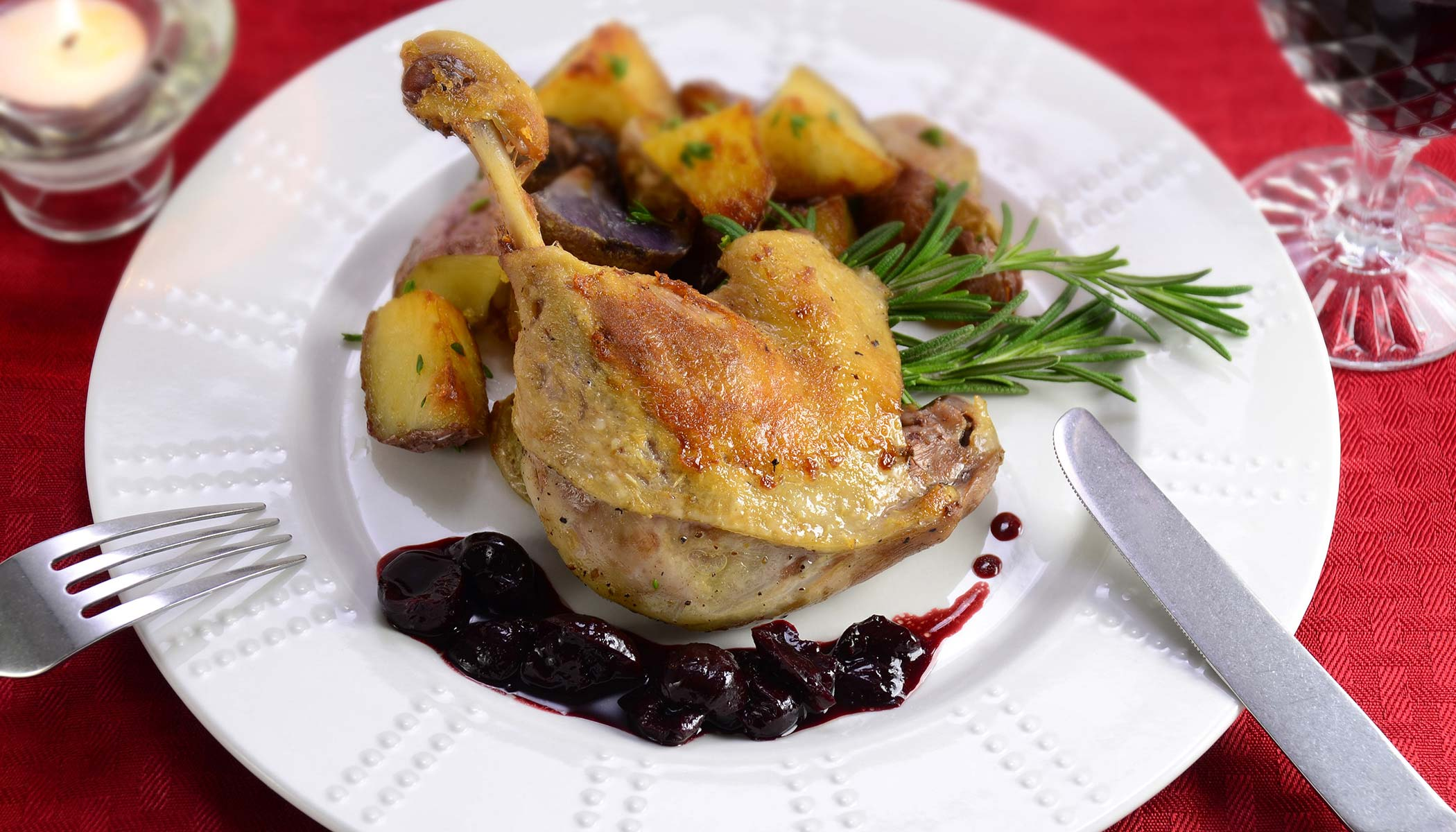Duck Confit with Cherry Sauce