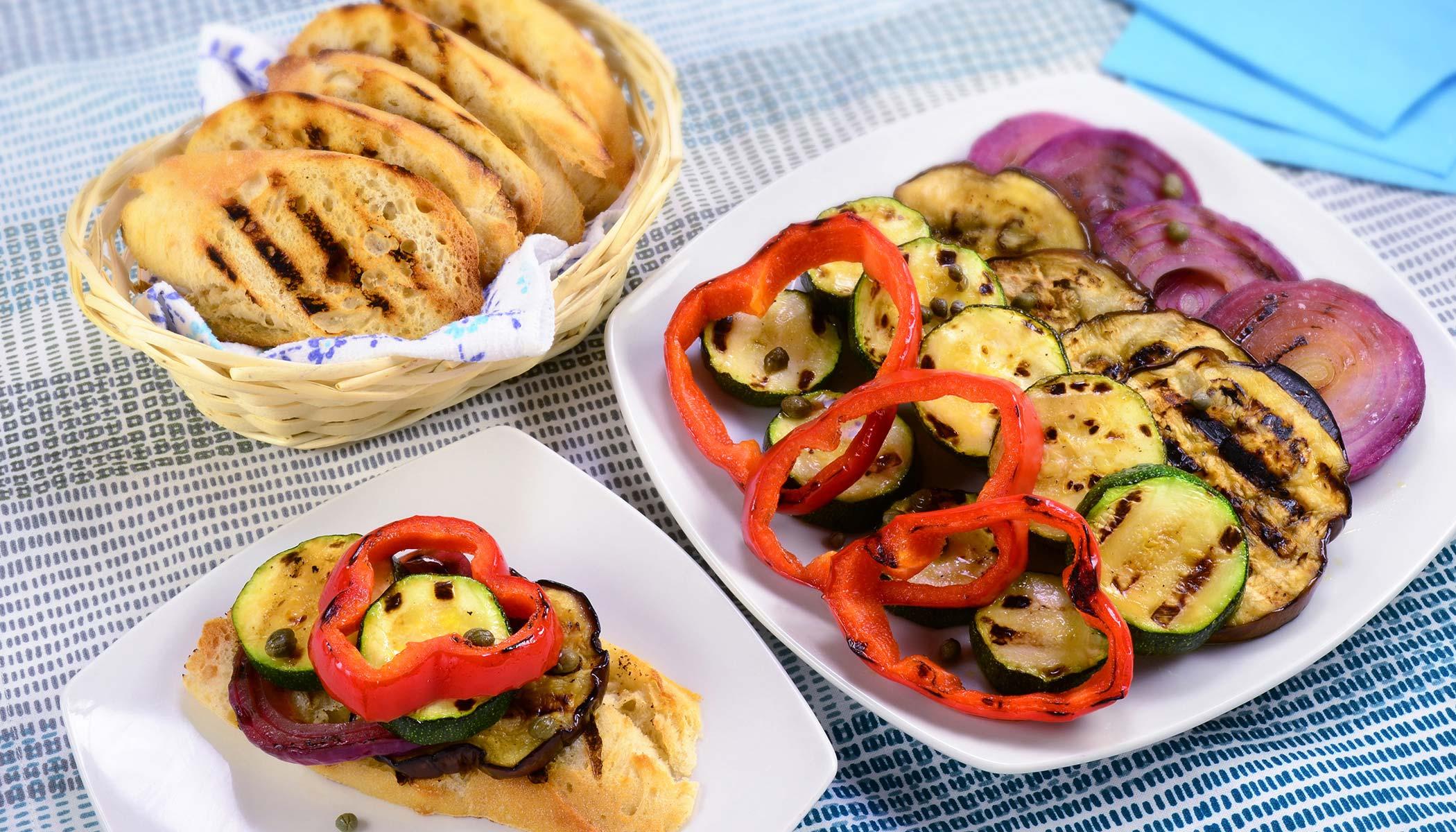 Grilled Veggie Open Faced Sandwich