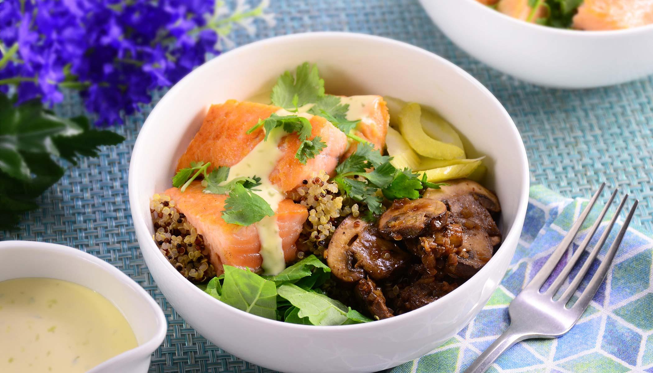 Topped Salmon Quinoa Bowl