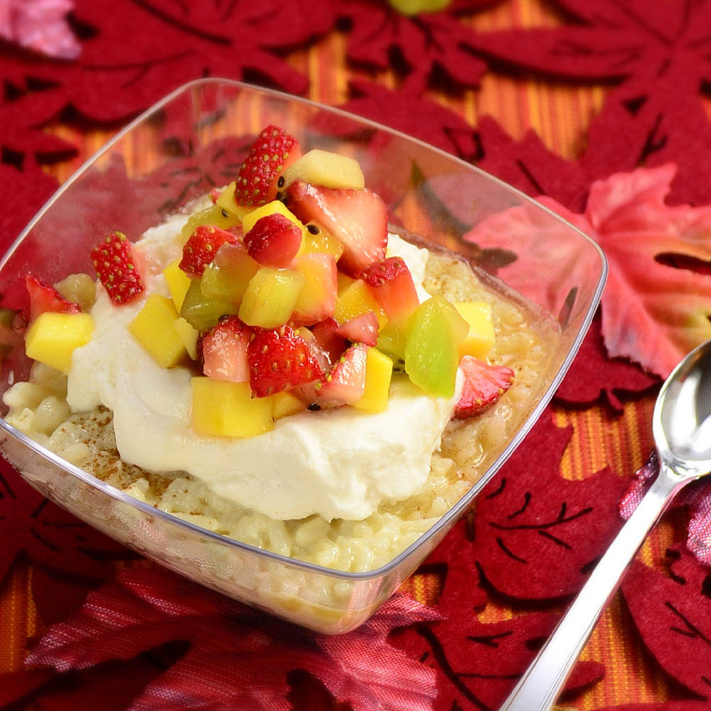 Fruity Rice Custard Pudding