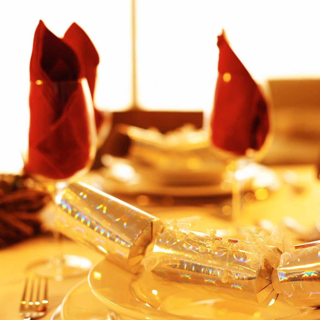 Dinner Place Setting with Christmas Cracker and Glasses