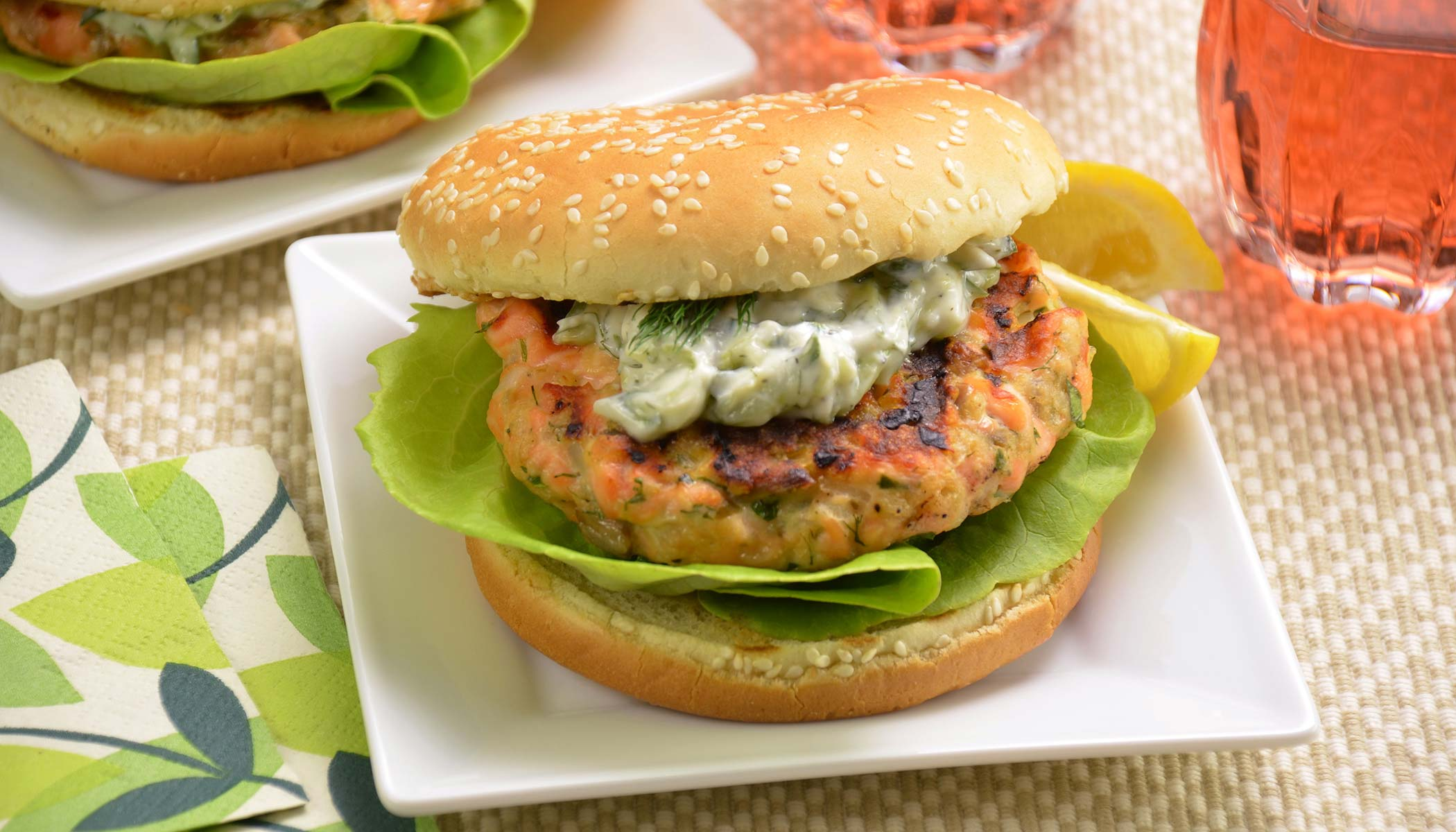 Salmon Burgers with <i>Tzatziki</i>