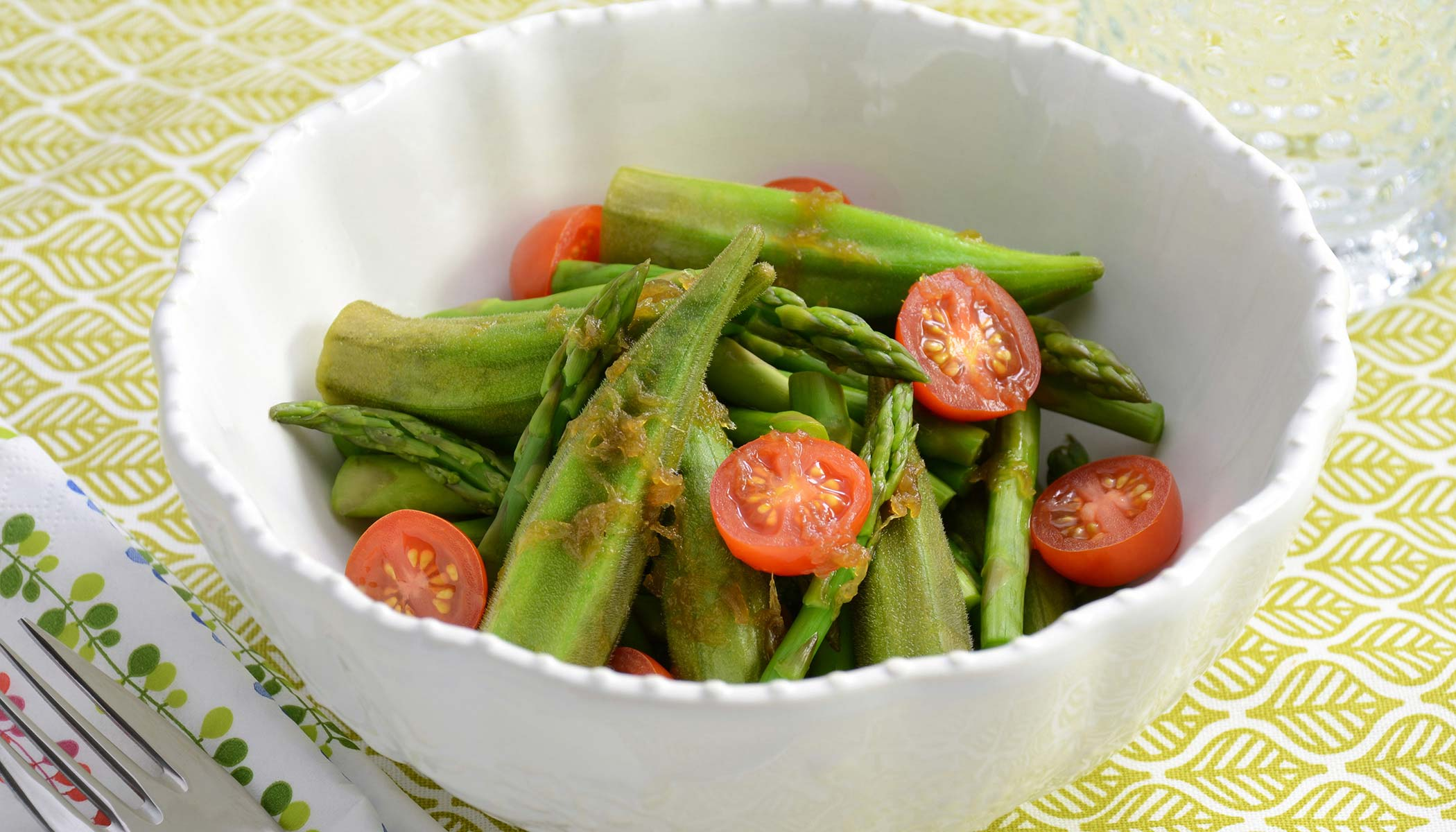 Okra, Asparagus and Cherry Tomato Salad