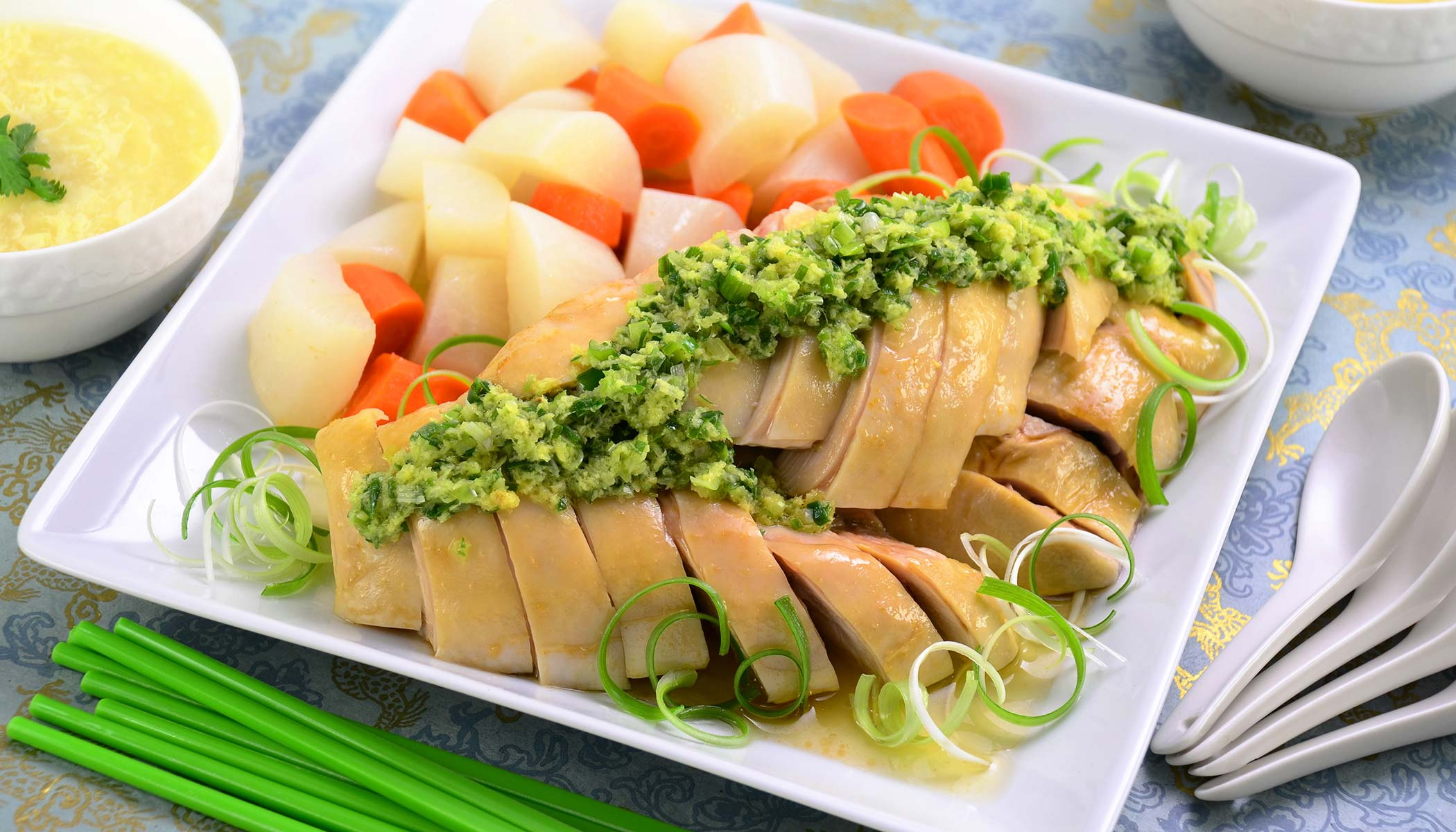 <i>Bai Qie Ji</i> (Poached Chicken served with Green Onion Sauce)