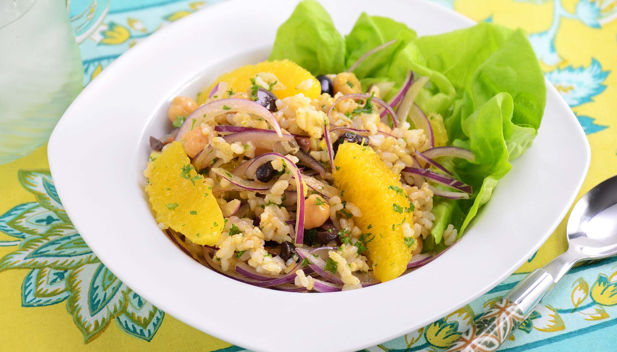Brown Rice and Chickpea Salad with Orange and Red Onion