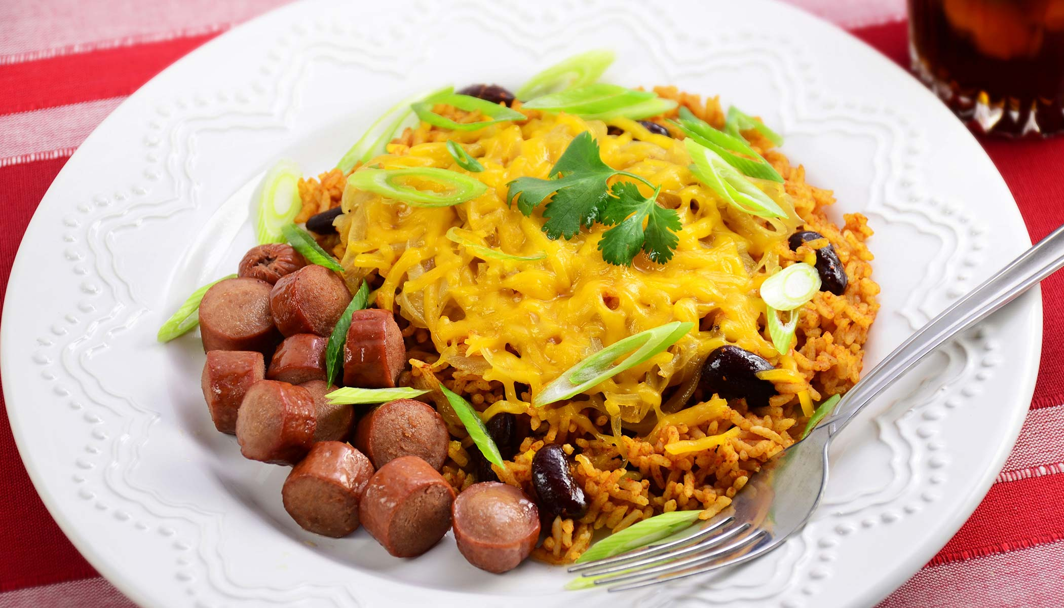 Chili Cheese Rice and Hot Dogs