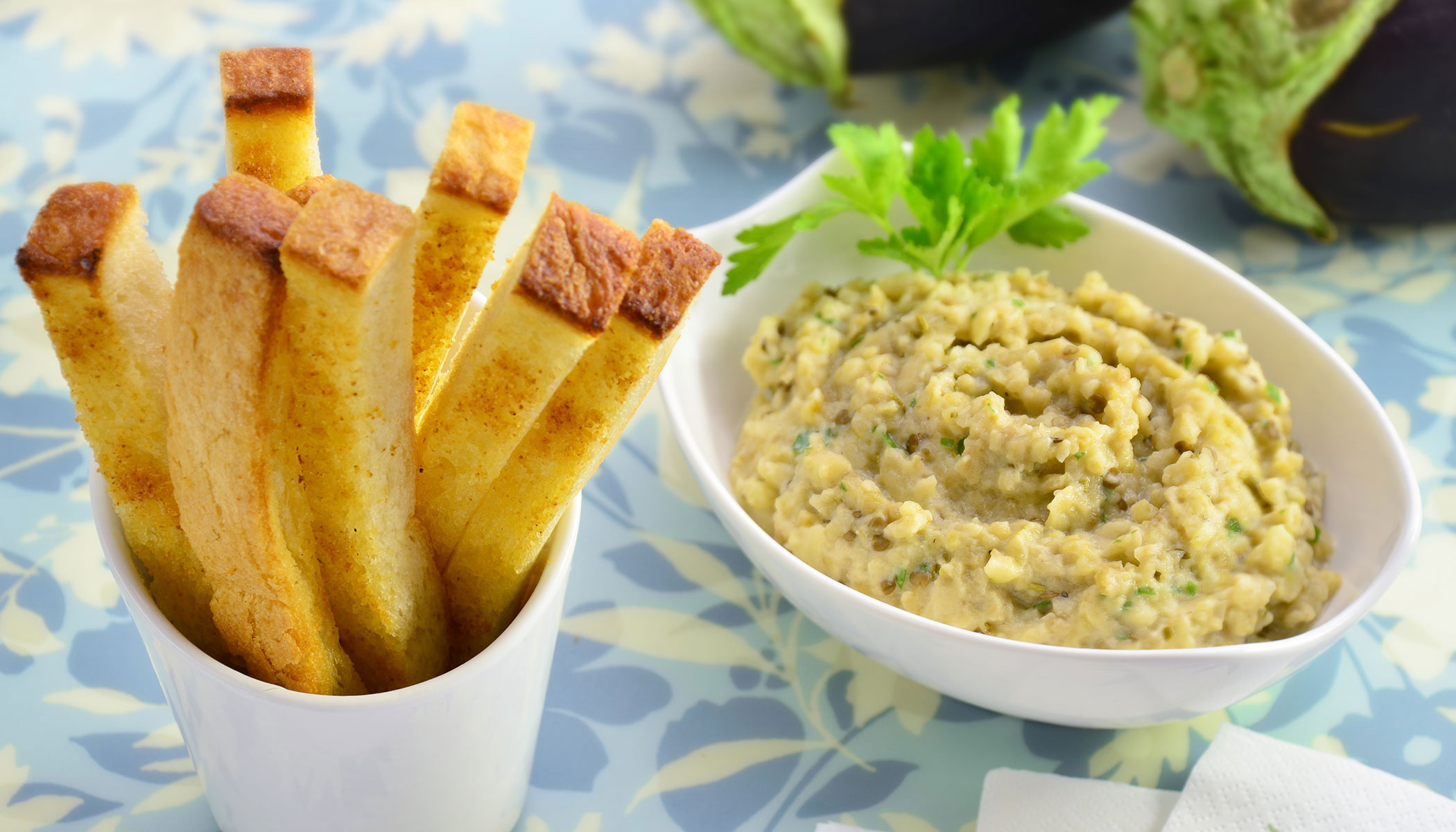 Garlic Rusk Sticks with Eggplant Dip