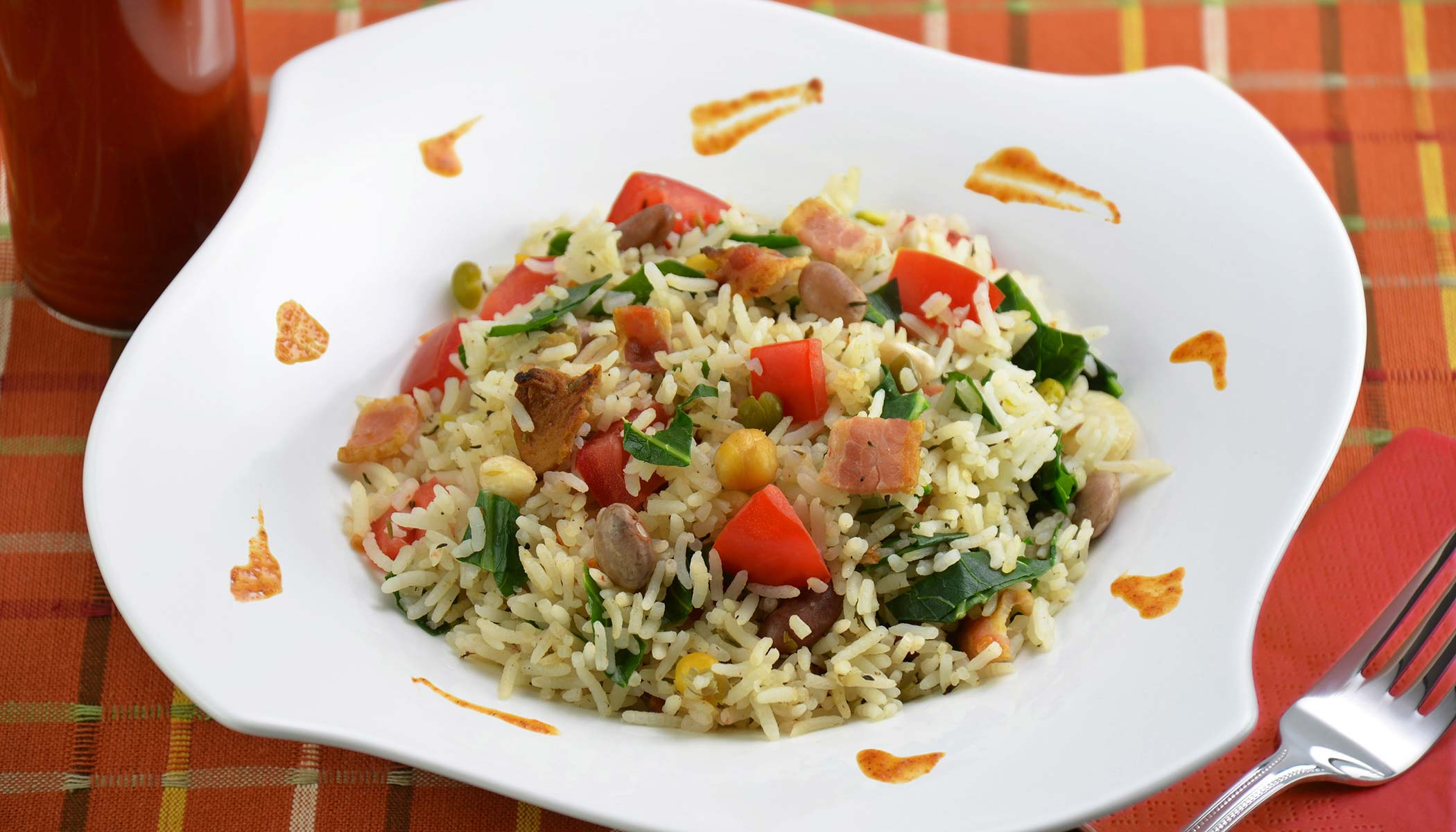 Rice and Beans with Bacon and Collard Greens