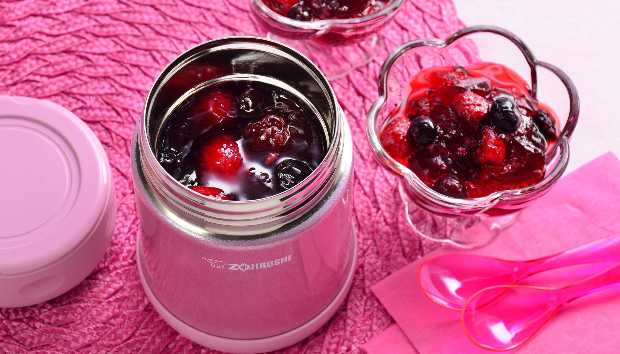Red Cranberry Gelatin with Mixed Berries