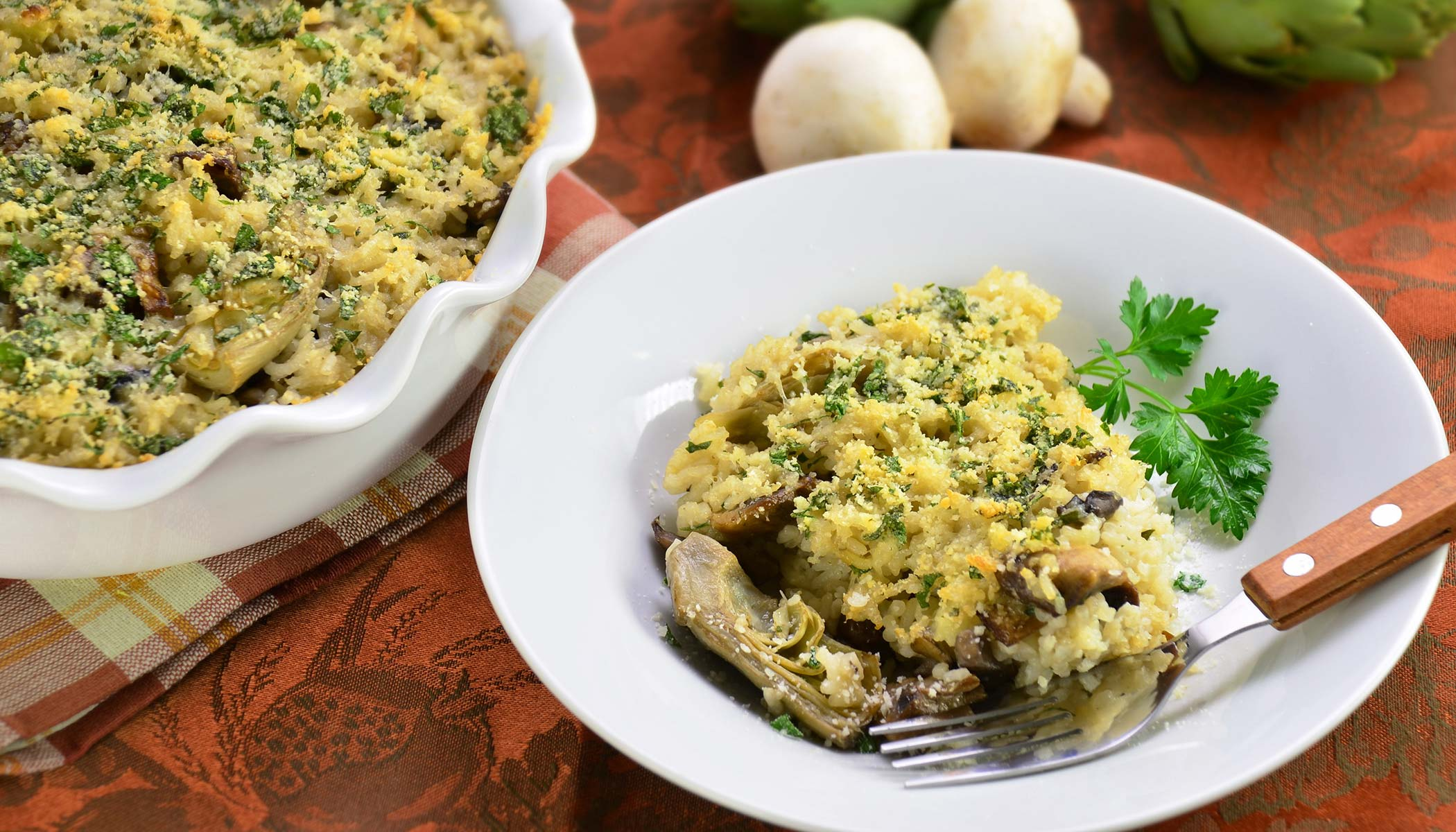 Baked Rice Casserole with Artichokes and Mushrooms