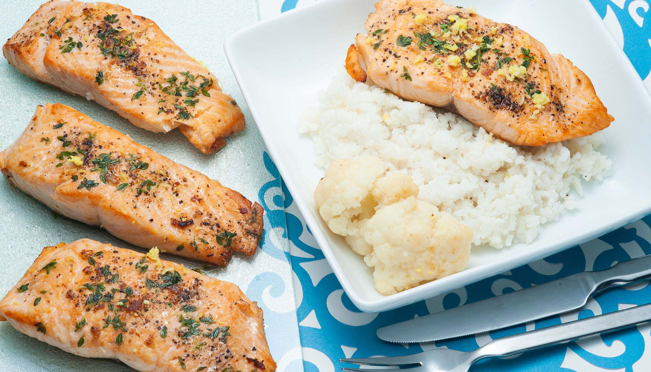 Cauliflower Creamed Rice with Seared Salmon